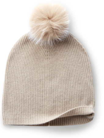 Cashmere Hat With Fox Fur Pom image two