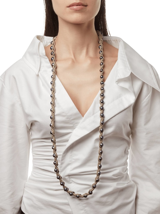 Marta Dahlia Bone 48 Inch Necklace 1