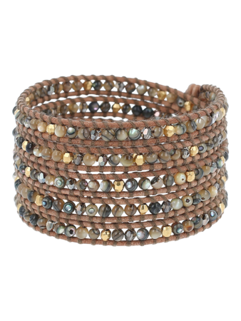 Abalone Crystal Mix Wrap Bracelet
