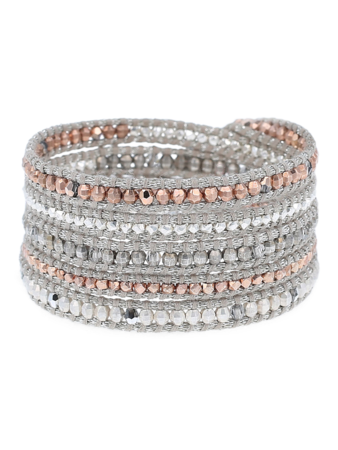 Rose Gold Mix Sectioned Wrap Bracelet