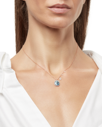 Rose Gold Necklace with Opal and Diamonds