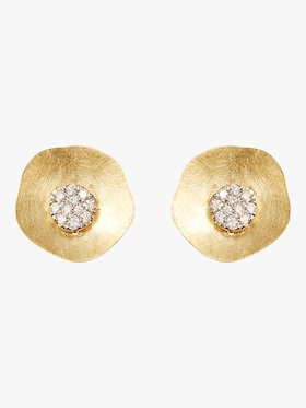 Gold Disk Flower Studs with Diamonds
