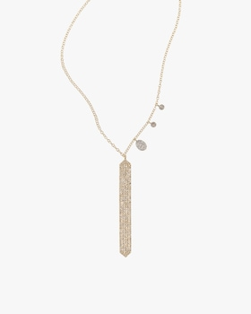 Gold Bar Necklace with Diamonds