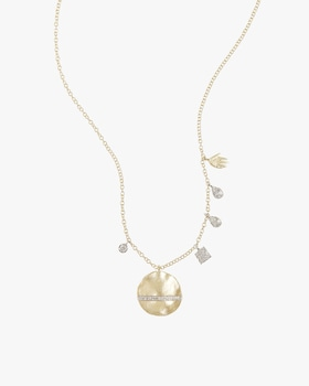 Gold Disk Necklace with Diamonds and Hamsa