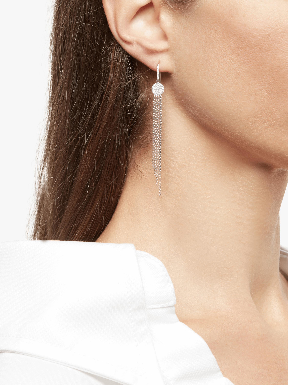White Gold Fringe Earrings with Pavé Disk