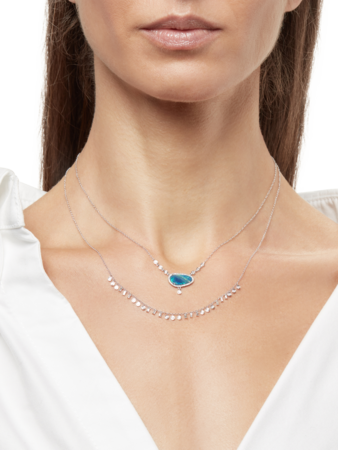 White Gold Necklace with Round and Baguette Diamonds