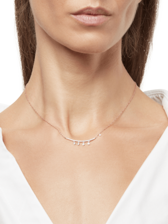 Rose Gold Necklace with Diamond Bar