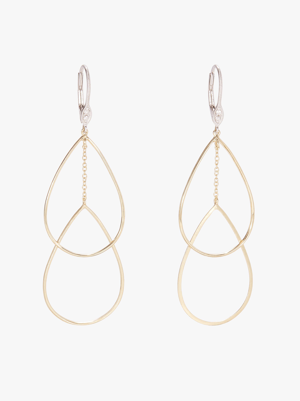 Two Tone Tear Drop Earrings with Diamonds