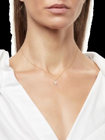 Gold Necklace with Pavé Hamsa