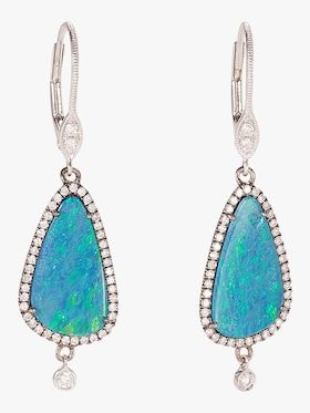 White Gold Earrings with Opal and Diamonds
