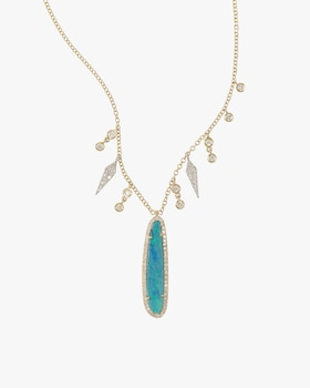 Gold Necklace with Opal and Diamonds