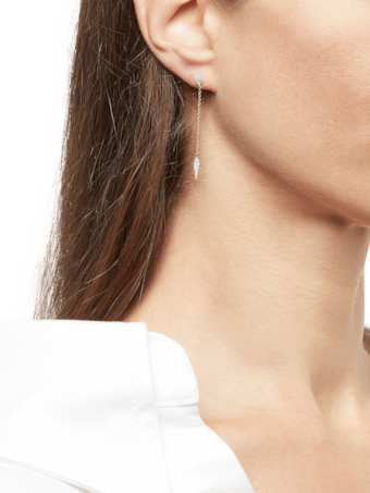 Two Tone Earrings with Pavé Disk and Spike