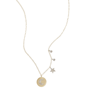 Gold Necklace with Diamond Moon