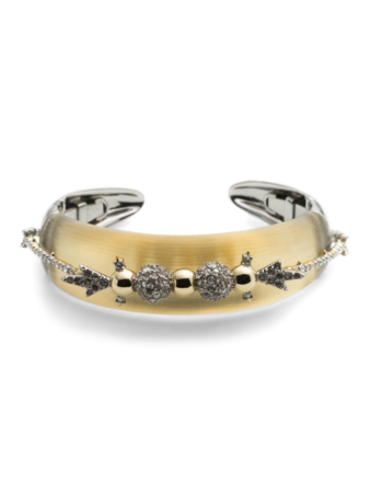 Lucite with Orbiting Stone Cluster Hinge Bracelet