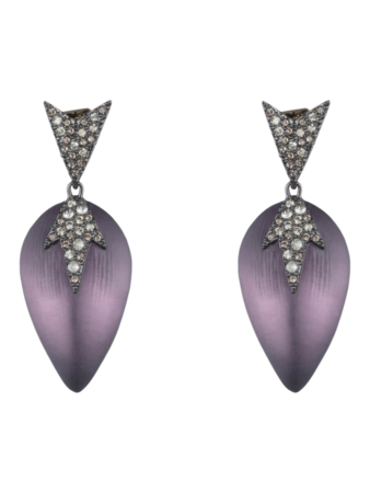 Spikey Shape Pavé Encrusted Lucite Drop Post Earrings