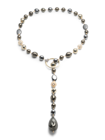 Baroque Pearl And Pavé Ball Lariat Necklace