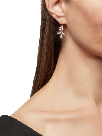 Foglia Earrings with Diamond Pavé