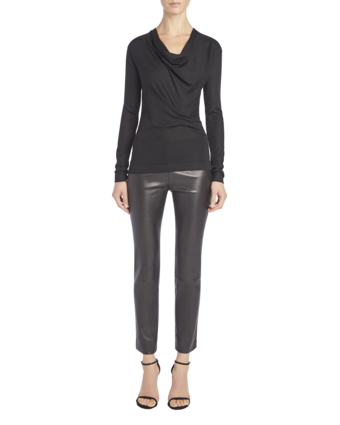 Long Sleeve Sweater with Drape Front