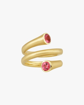 Carelle Whirl Red Spinel Spiral Ring 2