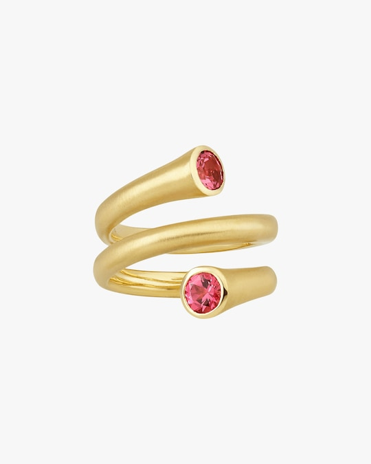 Carelle Whirl Red Spinel Spiral Ring 0