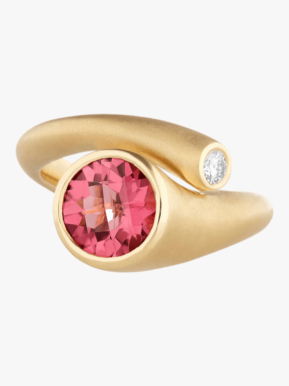 Whirl Pink Tourmaline And Diamond Ring