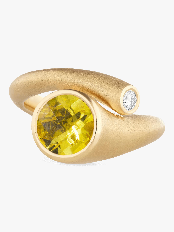Whirl Yellow Beryl And Diamond Ring