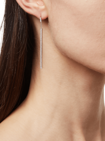 All Pave Diamond Stick Earrings