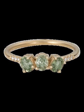 Green Sapphire Fan Ring