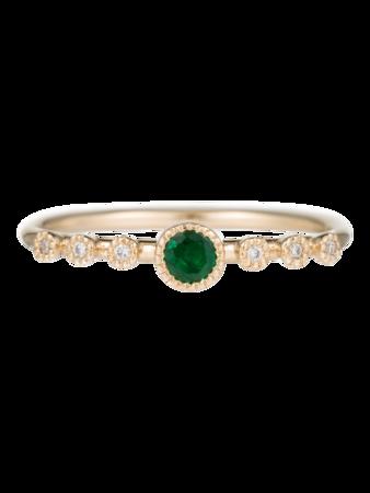 Round Emerald Dew Ring