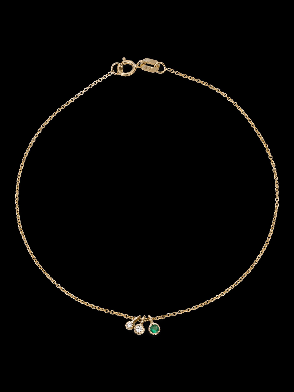Emerald Diamond Moon Drop Bracelet