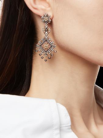 Diamond Bead Dangle Earrings