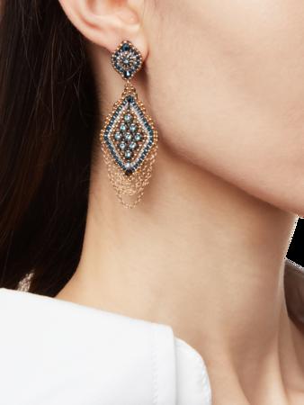 Diamond Drop Chain Earrings