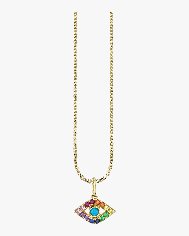 Rainbow Evil Eye Charm Necklace