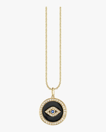 Enamel Evil Eye Medallion Necklace