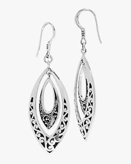 Lois Hill Classic Carved Scroll Marquis Drop Earrings 0