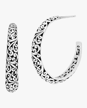 Classic Small Open Carved Scroll Hoop Earrings