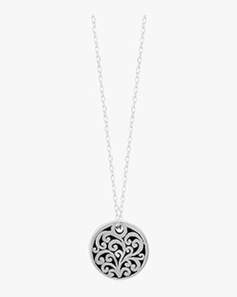 Signature Scroll Small Round Pendant Necklace