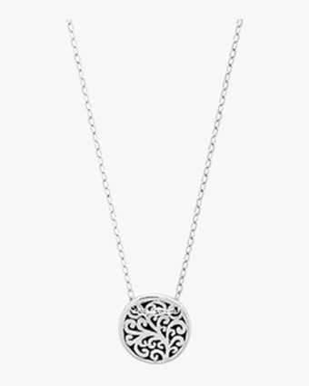 Signature Scroll Round Pendant Necklace