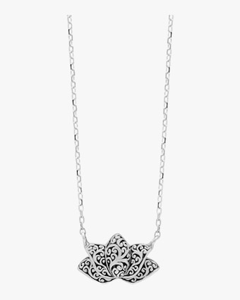 Carved Scroll Lotus Pendant Necklace