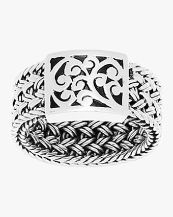 Classic Woven Textile Carved Scroll Ring