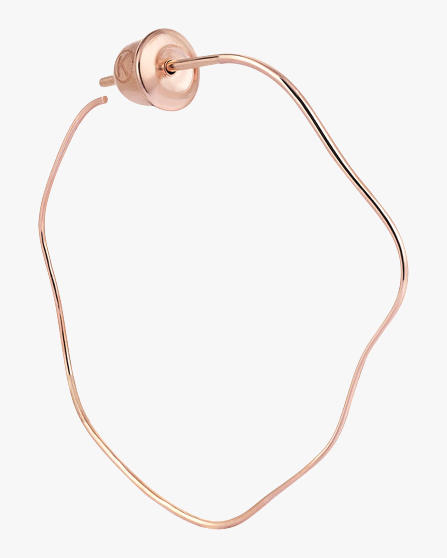 Waved Plain Gold Single Hoop Earring