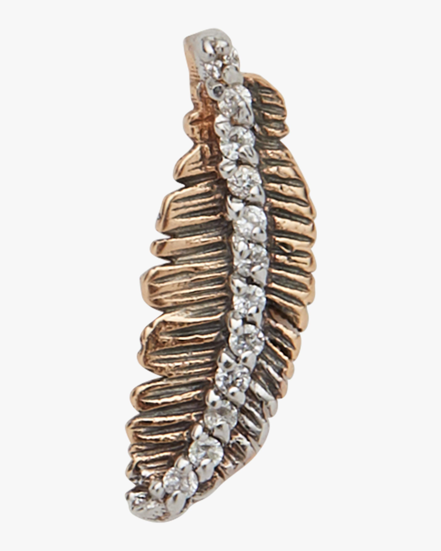 Feather White Diamond Single Earring