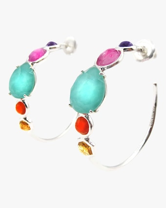 Rock Candy #3 Mixed Stone Hoop Earrings