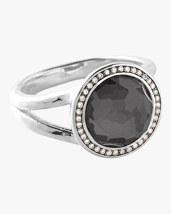 Lollipop Hematite Doublet Diamond Mini Ring