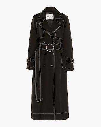 CAALO Black Contrast Long Hooded Trench 1