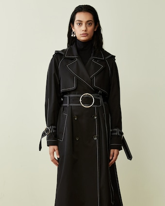 Black Contrast Long Hooded Trench