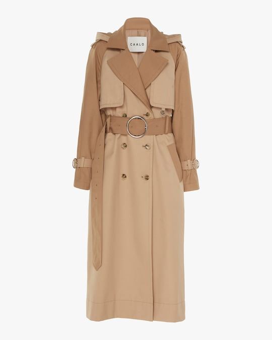 CAALO Camel Long Hooded Trench 0