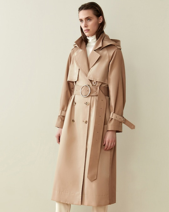 CAALO Camel Long Hooded Trench 1