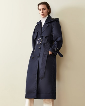 Navy Down Filled Satin Trench