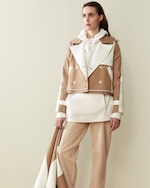 CAALO Camel / White Convertible Hooded Trench 4